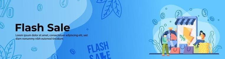 conception de bannière web vente flash. e-commerce, en-tête d'achat en ligne ou bannière de pied de page. vecteur