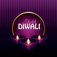 shubh diwali festival of light invitation carte de voeux avec diwali diya vecteur