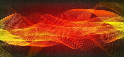 fond d'onde sonore numérique orange et rouge, concept d'onde de technologie et de tremblement de terre, conception pour l'industrie de la musique, vecteur, illustration. vecteur