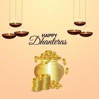 carte de voeux de fête indienne de shubh dhanteras vecteur