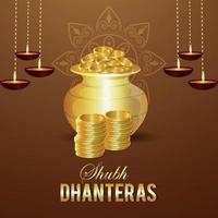 Carte de voeux de célébration de shubh dhanteras, fond de festival indien de dhanteras avec pièce d'or vecteur