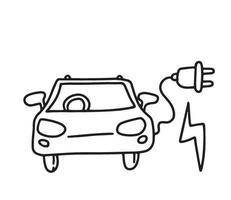e doodle de voiture. énergie verte vecteur