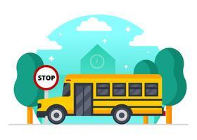 Vecteur de bus scolaire jaune