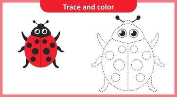 coccinelle trace et couleur vecteur