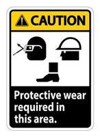 Attention, un port de protection est requis dans ce domaine. avec des lunettes, un casque et des symboles de bottes sur fond blanc vecteur