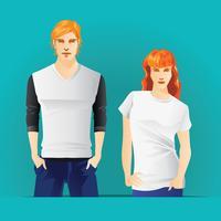 T-shirts Modèle avec Body Hommes et Femmes vecteur