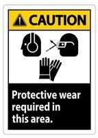 panneau d'avertissement portez un équipement de protection dans cette zone avec des symboles ppe vecteur