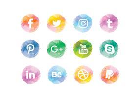 Vector Aquarelle Social Media Icons