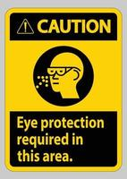 panneau d'avertissement protection oculaire requise dans ce domaine vecteur