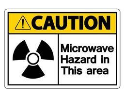 Attention, signe de danger micro-ondes sur fond blanc vecteur