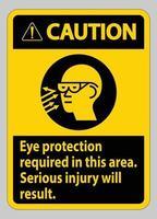 panneau d'avertissement protection oculaire requise dans cette zone, des blessures graves vecteur