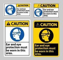panneau d'avertissement une protection auditive et oculaire doit être portée dans cette zone vecteur