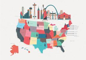 Vecteur de carte de repère des États-Unis coloré