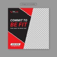 conception de modèle de bannière de poste de médias sociaux propre et personnalisé fitness gym et illustration vectorielle pro. vecteur