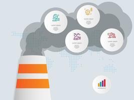 environnement, modèle d'élément infographie écologique avec des icônes vecteur