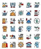 environnement, écologique 30 icônes de contour de remplissage simple vecteur