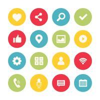 Collection de jeu d'icônes de médias sociaux vecteur