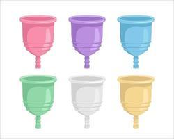 coupes menstruelles de différentes couleurs vecteur