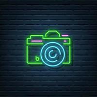 enseigne au néon de caméra vecteur