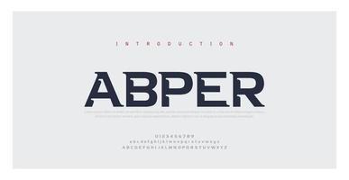 polices de l'alphabet minimal moderne abstrait. typographie style urbain pour le plaisir, le sport, la technologie, la mode, le numérique, la future police de logo créatif. vecteur