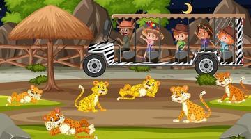 safari de nuit avec des enfants regardant un groupe de léopards vecteur