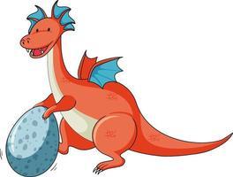 personnage de dessin animé simple de dragon tenant un oeuf isolé vecteur