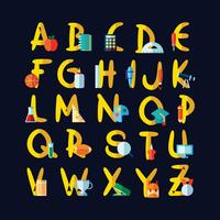 Alphabet sur le thème de l'école vecteur