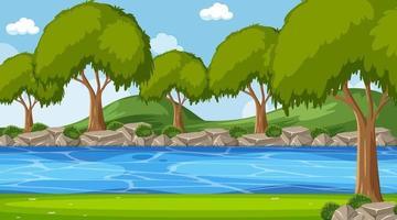 scène de paysage de parc naturel vide avec rivière vecteur