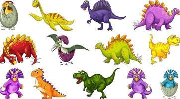 Personnage de dessin animé de dinosaures différents et dragons fantastiques isolés vecteur