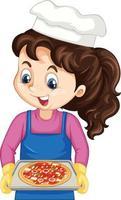 personnage de dessin animé chef fille tenant un plateau de pizza vecteur