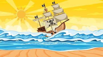 scène de plage au coucher du soleil avec bateau pirate en style cartoon vecteur