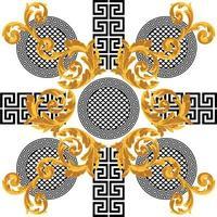 couleur or baroque avec motif grec vecteur