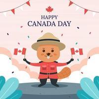 castor célébrant la fête du canada vecteur