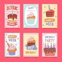 jolie collection de cartes d'anniversaire vecteur