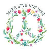 Signe de paix aquarelle pleine de fleurs vecteur