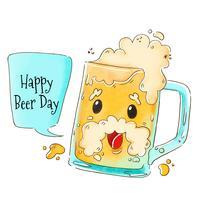 Personnage de bière mignon à la journée internationale de la bière vecteur