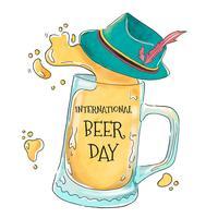 Bière avec le chapeau de l'Allemagne à la journée de la bière vecteur