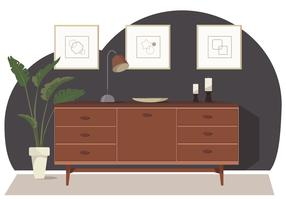Illustration vectorielle de salle et de meubles