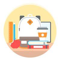 Vecteur de retour aux accessoires scolaires