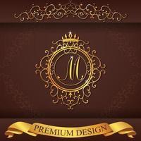 design premium or alphabet héraldique m vecteur