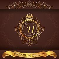 alphabet héraldique or design premium u vecteur
