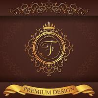 design premium or alphabet héraldique f vecteur