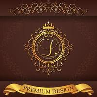 design premium or alphabet héraldique l vecteur