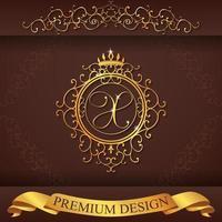 alphabet héraldique or design premium x vecteur