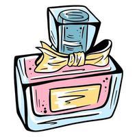 parfum. parfum pour femme. bonne odeur. cosmétiques pour femmes. bouteille de parfum. style de bande dessinée. vecteur
