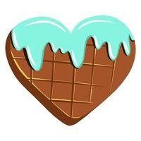 chocolat en forme de coeur. chocolat avec glaçage. cadeau de la Saint-Valentin. doux cadeau. style de bande dessinée. vecteur