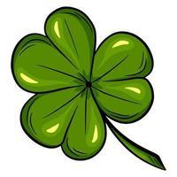 Trèfle à trois feuilles. bonne chance trèfle - style de bande dessinée de la Saint-Patrick. vecteur