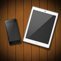 téléphone portable noir avec tablette blanche vecteur