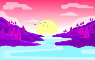 Illustration de beau paysage de vecteur