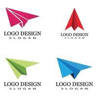 modèle d & # 39; illustration vectorielle avion en papier logo vecteur